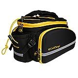 Aosbos Radtasche Multifunktionale Gepäckträgertasche Wasserdicht Satteltasche für Fahrrad mit Reflektorstreifen, 12 L, 33,5 x 26 x 23 cm(Schwarz)