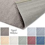 Designer-Teppich Pastell Kollektion | Flauschige Flachflor Teppiche fürs Wohnzimmer, Esszimmer, Schlafzimmer oder Kinderzimmer | Einfarbig, Schadstoffgeprüft (Grau Braun, 80 x 150 cm)