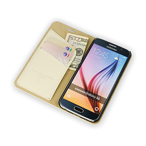 QIOTTI >             SAMSUNG GALAXY S6             < incl. PANZERGLAS H9 HD+ Stylisch Booklet Wallet Case Hülle Tasche aus echtem Kalbsleder mit Notenfach in BRAUN CREME