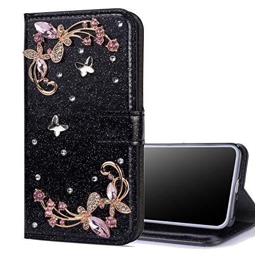 Preisvergleich Produktbild Nadoli Leder Hülle für Huawei Mate 20, Luxus Bling Glitzer Diamant 3D Handyhülle im Brieftasche-Stil Schmetterling Blumen Flip Schutzhülle Etui für Huawei Mate 20, Schwarz