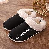 YSFU Hausschuhe Frauen Winter Warme Hausschuhe Erwachsene Frauen Brief Gedruckt Flip Flops Home Schuhe Baumwolle Hausschuhe, 13