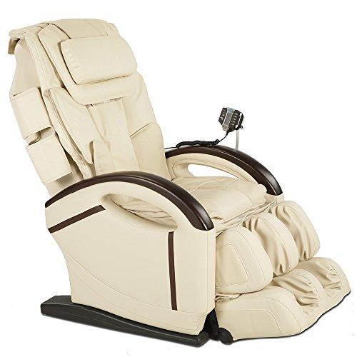 maxVitalis Massagesessel, Relaxsessel, mit Aufstehfunktion, Wärmefunktion, Shiatsu-Massage, 6 Massageprogramme, Kunstleder, bis 130 kg belastbar (Creme)