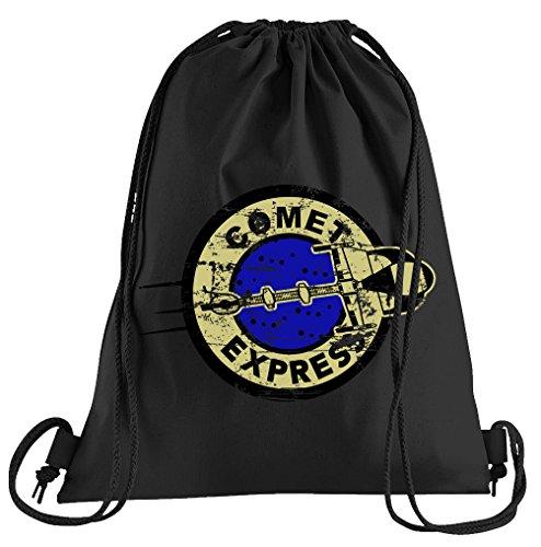 COMET Express Future Bolsa de deporte–serigrafiado Bolsa–Una bonita de funda deportiva; de la calidad del materiales–Bolsa con cordones–Un bonito Mochila de algodón–Funda en negro, algodón, Negro, talla única