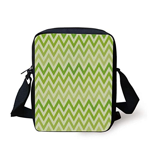 Lime Green,Chevron Traditional Zig Zag Pattern with Symmetric Lines Tribal Modern Pattern Decorative,Pale Green Print Kids Crossbody Messenger Bag Purse -
