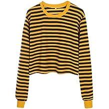 c9533346e183eb GreatestPAK Damen Pullover Streifen Shorts Kontrast-Trikots T-Shirts  Niedlich Gestreift Tops Lose Bluse