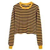 GreatestPAK Damen Pullover Streifen Shorts Kontrast-Trikots T-Shirts Niedlich Gestreift Tops Lose Bluse