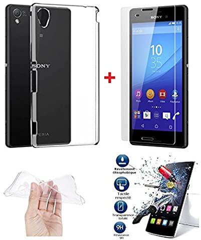 *PACK INCASSABLE iPOMCASE®* COQUE SOUPLE GEL SILICONE INCASSABLE TRANSPARENTE + FILM PROTECTEUR INCASSABLE VERRE TREMPE SONY XPERIA M4 AQUA