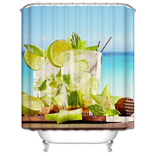 Coniea Badewanne Vorhänge Stoff Sommerzitrone Badewannenvorhang Bunt Duschvorhang Polyester Stoff 90X180CM