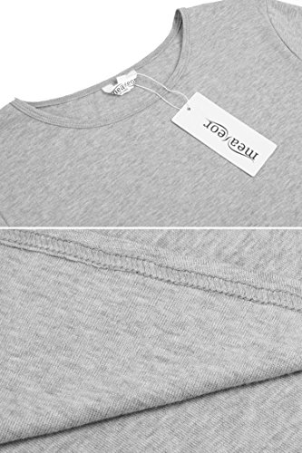 Meaneor Damen Tops Shirt Bluse Rundkragen Langarmshirt Asymmetrisch casul Bluse Grau