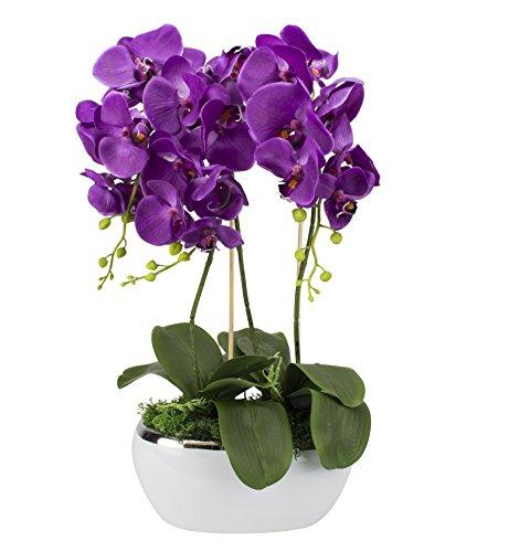 Künstliche Orchideen im Übertopf aus Keramik | Stoff Blüten | Farbe: Violett/Weiß/Grün | Gesamthöhe: ca. 65cm / Gesamtbreite: ca. 75cm | handgearbeitet in EU -