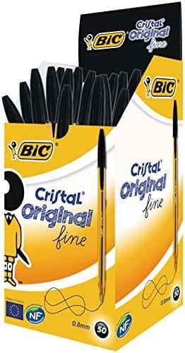 BIC Cristal Original Stylos-Bille Pointe Fine - Noir, Boîte de 50