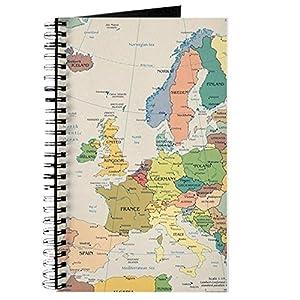 CafePress–mapa de Europa–Diario encuadernado con espiral Notebook, diario personal, Dot Red