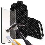 i-Tronixs (Black Carbon 145x 71 mm) Pouch case for BQ