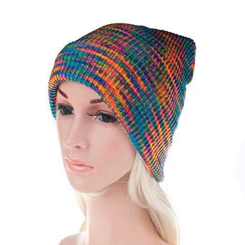 LCLrute Frauen Baggy Warm Crochet Winter Wolle stricken Ski Beanie Schädel Slouchy Caps Regenbogen Hut (Multicolor) Multi Color Knit Skull Cap