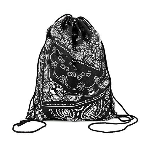 Beutel Bandana Paisley Aufdruck Tasche Tüte Rucksack Jutebeutel Hipster Fashion Turnbeutel Turnsack (Bandana-druck-kleidung)
