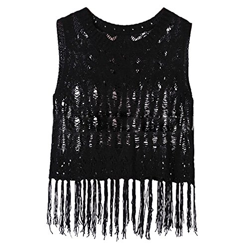 Juleya donne ricamato floreale Lace Crochet coprire canotta Bralet Nero