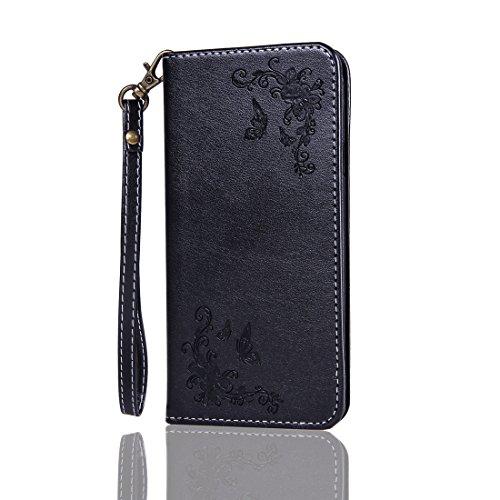 Nancen Compatible with Handyhülle Galaxy E5 / E500F (5 Zoll) Handyhülle, Luxus Schwarz Prägung Schmetterling & Blume Muster Flip Case PU Leder Tasche Ledertasche Etui