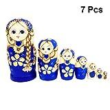 Healifty Blue Braid Girl Russische Nesting Dolls Handmade Holz Matroschka Spielzeug Weihnachtsgeschenk 7 stücke