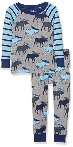 Hatley Jungen Long Sleeve Printed Pyjama Set, Grey (Blue Moose), 2 Jahre (Pjs 2 Stück Jungen Pyjamas)