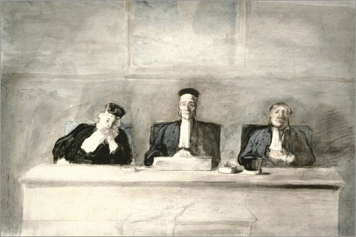 Posterlounge Acrylglasbild 120 x 80 cm: Die DREI Richter von Honoré Daumier/Bridgeman Images - Wandbild, Acryl Glasbild, Druck auf Acryl Glas Bild