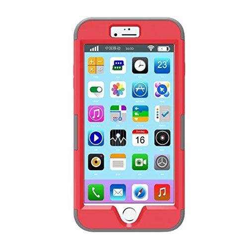 iPhone 7 plus hülle, Lantier 3 in 1 [weicher harter Tough Case] [Anti Scratch] [Stoßdämpfung ] Leichte Schlank Voll Body Armor Schutzhülle für iPhone 7 Plus (5,5 Zoll) Mint Green + Grau Dark Red+Grey