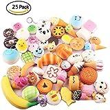 Sambombs 25pcs aléatoire kawaii jumbo squishies lente montée moyennes mini doux squishy jouets téléphone sangles