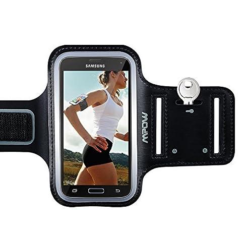 Brassard Samsung Galaxy S7/ S6/ S6 edge/S5, Mpow Etui Brassard Sports Sweatproof Armband Case pour le Jogging/ Gym/ Sport, Confortable avec 2 sangles réglables Noir