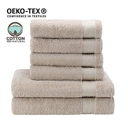 Handtuch-Set mit (4) Handtüchern (2) Badetüchern (Hellbeige), 100% Baumwolle - Hotel- und Wellnessqualität - OEKO TEX Std 100 Zertifizierung - Weich und Saugstark - Waschmaschinenfest - Schwimmbad (Handtuch Hotel)
