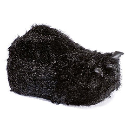 funslippers®, Kralle Tatze passend Größe 39, 40, 41 Schadstoffgeprüft** Tierhausschuhe schwarz Tatze Plüsch Hausschuhe Monsterkrallen Bärentatze mit Gummisohle (Passende Kostüme Für Jungen Und Mädchen)