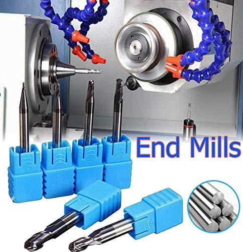 pretty-H 6 stücke Schaftfräser Set 2 Flöten Hartmetall Kugelkopffräser Fräser CNC Werkzeuge Fräser Set