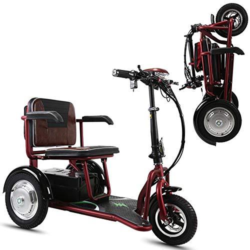 Scooter de ocio al aire libre plegable eléctrico de tres ruedas scooter de ancianos discapacitados 30A de gran capacidad con el medio ambiente de la batería de litio, puede durar 80 kilometros,Rojo