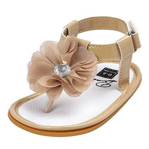 feiXIANG Sandalen Mädchen Sommer Kleinkind Schuhe T-Strap Outdoor Atmungsaktiv Blume Baby Flach Flip Flops (Khaki,12-18 Monat=13)