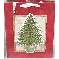 Sporta regalo in carta Albero di Natale e fondo a rilievo con paiettes cm.26x31,5x12,5 - Shopper Natale confezione regalo Christmas
