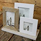 Rustic 3 Wooden Photo Frames On Tray ~ Finished In A Distressed Lime Washed Style