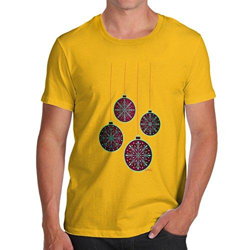 TWISTED ENVY Herren T-Shirt Purple Christmas Baubles Print X-Large Gelb Decora Jack