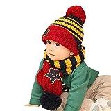 Babybekleidung Hüte & Mützen Longra Winter Herbst Mode Art Baby Kinder jungen Cartoon Strickwolle Hüte Baby Schal Mützen (Navy)