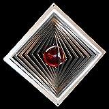 Edelstahl-Windspiel Quadrat hochkant Höhe -12cm x Breite -12cm mit Glaskugel Ø-35mm (orange) Für den Garten und als Fensterschmuck