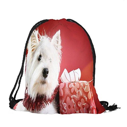 Longra Poliestere superiore Materiale Natale Unisex Cucciolo Dog Printing Bundle Tasca Drawstring Bag D