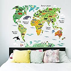 AWAKINK TM Cartoon Background Colorful English Words World Map Wall Art Decals Stickers Vinyl