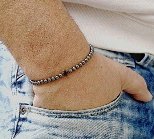 Beautiful jewelry AAA++ Quality MENS BRACELET 4 mm Cross Mens Bracelet Hematite Thin Bracelet Mens Thin Bracelet Mens Slim Bracelet Small Hematite Spinel Black Style Men Code- JJS1512