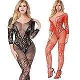 2-Pack Damen Bodystocking Netz Dessous Body Übergröße Bodysuit Nachtwäsche Dessous (schwarz+rot)