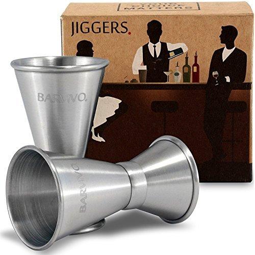 Double Jigger Set by barvivo. Maßnahme Likör mit Vertrauen wie eine professionelle Barkeeper. Einen Teil Ihres Home Bar Kit, aus echt Edelstahl mit gebürstetem Finish, hält Unzen/Augencreme