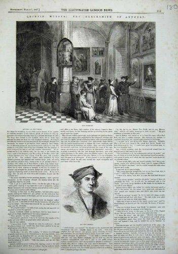 Ritratto 1857 dell'Uomo di Anversa del Fabbro di Quintin Metsys par original old antique victorian print