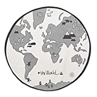 Comfysail Baby Kids Thin World Map Playmat Round Canvas Storage Bag Carpet Diameter 130cm Beige(not White)