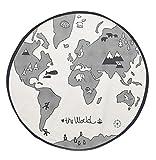 Comfysail Baby Kids Thin World Map Playmat Round Canvas Storage Bag Carpet Diameter 130cm Beige(not White)
