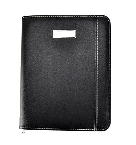 Arpan - Carpeta para conferencias aspecto piel negra, A5, con cremallera, con calculadora y bloc para ejecutivo