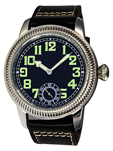 PARNIS 9058 Klassische Fliegeruhr 44mm mechanische Herren-Armband-Uhr lumineszierend 316L-Edelstahl Leder-Armband Seagull ST36 Markenuhrwerk