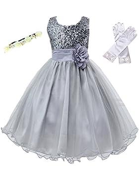 Hochzeit Kleid für Kinder Mädchen mit Handschuhen und Haarband - Tyidalin Festlich Pailleten Tüll Abendkleid Party...