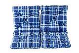 Ambientehome 2er Set Sitzkissen und Rückenkissen Sessel Hanko, kariert blau, ca 50 x 98 x 8 cm, Polsterauflage