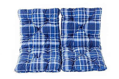 Ambientehome Lot de 2 Coussins à carreux pour Fauteuil de Jardin HANKO Bleu 98 x 50 x 8 cm 90621